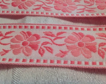 Vintage RIBBON pink and white 5 yards woven flower design