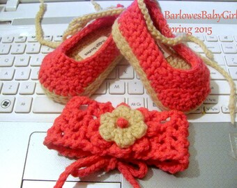 NEW - Buggs - Crochet Baby Espadrille Wedge Shoes w/ Headband - Hot Pink - Pick Your Color