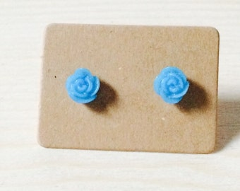 Adorable tiny blue rose earrings