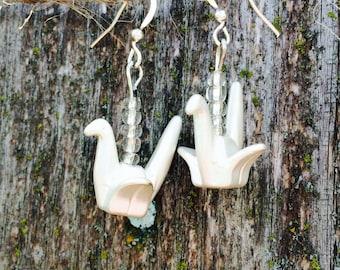 Gorgeous paper crane bead earrings