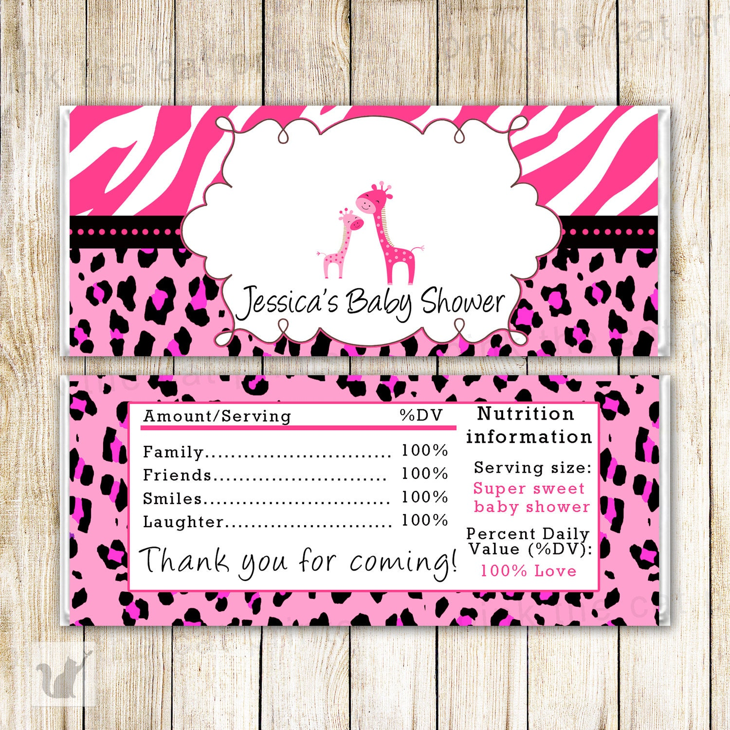 Candy For Baby Shower Ideas: Pink Giraffe Candy Bar Wrapper Giraffe Baby Shower Candy Bar