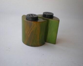 Vintage Rare Green Bakelite Salt and Pepper
