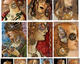 BOTTICELLI PUNK - Digital Collage Altered Botticelli Renaissance Steampunk Portraits 2.5x3.5 inch ATC Background Scrapbooking Supplies Tags
