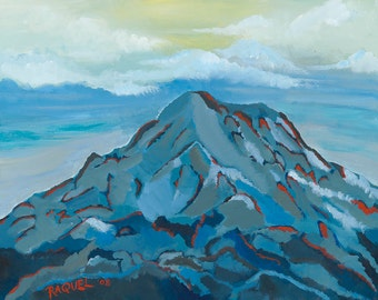 Mount Rainier Painting Blue Mountain Print Volcano Painting Seattle Washington State Art Abstract Mountain Landscape National Park Alpine