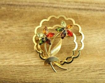 Vintage Rhinestone Gold Filled Flower Brooch Great Retro piece(ET403 )
