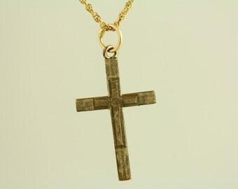 Art Deco etched cross pendant Chain Link Gold Filled Necklace (ET473 )