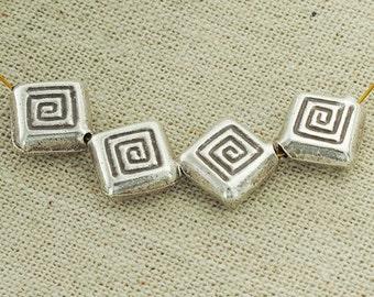 4 of Karen Hill Tribe Silver Imprint Square Beads 10.5mm.:ka4010