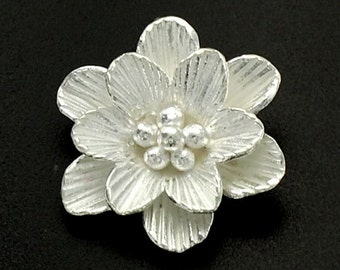 1 of Karen Hill Tribe Silver Flower Pendant 18 mm. :ka3834
