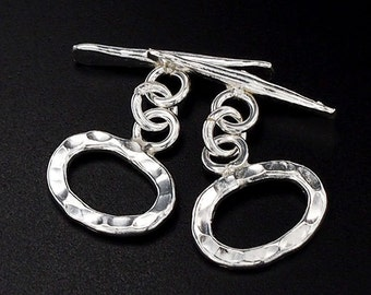 2 of Karen Hill Tribe Silver Hammered Toggles 10 x 14 mm. :ka3466