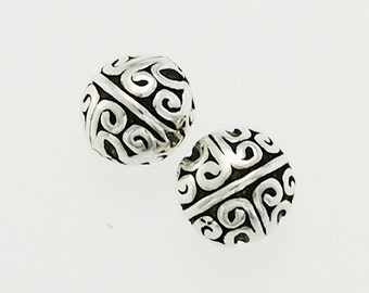 2 of 925 Sterling Silver Bali Style Beads 7 mm. :th2232