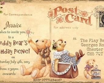 4x Teddy Bear's Picnic Personalised Birthday,Christening Invitations & Envelopes