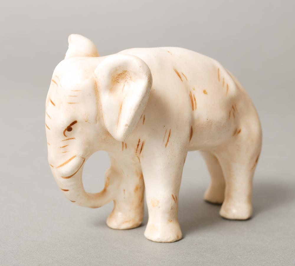 Vintage Small Elephant Figurine White Porcelain Or Clay