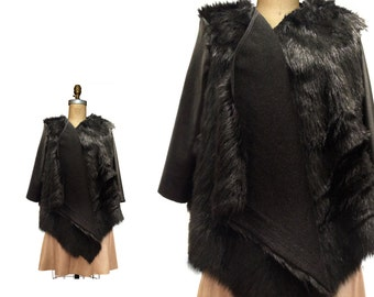 FUR COAT Black faux fox Black fur coat with Black Leather sleeves real LEATHER faux fur cape