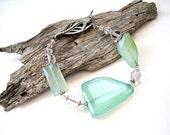 Gemstone Bracelet -Chalcedony - AA Clear Quartz - Beaded Jewelry - Gemstone Jewelry - Sterling Silver - Swarovski Crystal