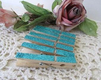 1 Dozen Aqua Blue Glitter Clothespins. Photo Clips,