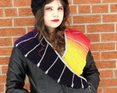 Rainbow Dragon Shawl : Gradient dyed and Hand Knit Shawl Scarf in Black and Rainbow Gradient - Super Bright and Fun
