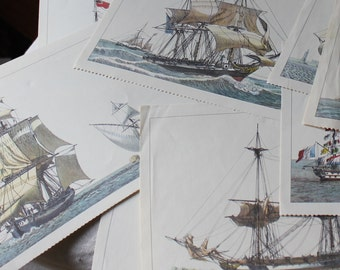 11 Vintage Tall Ships Art Calendar Pages 1950s Bank Advertising Promo Prints - B1
