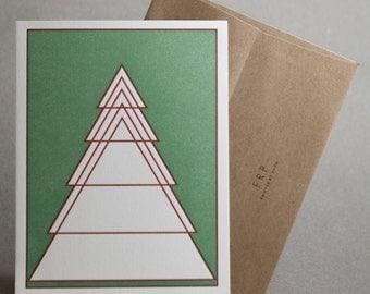 Geometric Evergreen Tree Flat Note Card