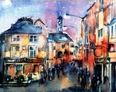 Nightfall Kilkenny -  Watercolour Fine Art Print-  Choice of sizes