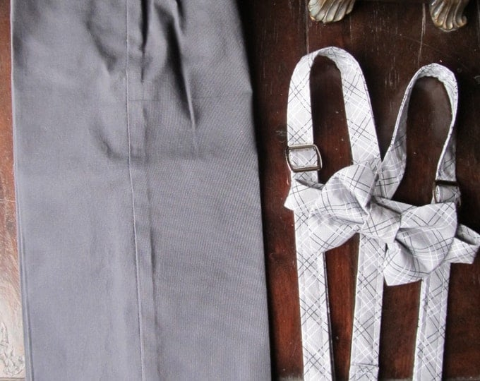 Cotton Ring Bearer Outfit; 3 Piece Set, Ring Bearer Bow Tie, Ring Bearer Suspenders, and Pants. Wedding Outfit for Ring bearer