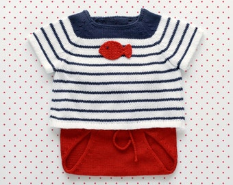 Knit newborn outfit, knitted baby set, baby sweater, knitted diaper cover, navy stripes, red navy white, 100% cotton, newborn clothes.