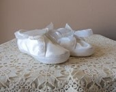 Vintage Baby Shoes - Lullaby Baby Shoes, Size 2, 5 to 8 Months, White Satin, Original Packaging, Photo Opportunity, Baptism or Christening