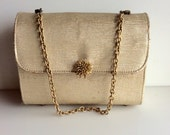 GOLD Evening Vintage  Bag with Flower Clasp