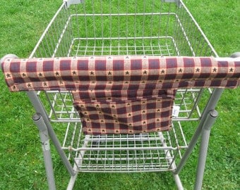 Shopping Cart Cover Handy Cart Cover with Pocket -Primitive Print Handy Cart Cover - Handy Cart Cover