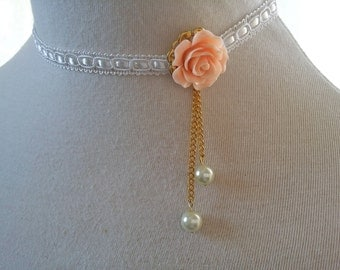 Peach flower choker Ivory Lace necklace Asymmetrical collar Bridesmaid gift wedding Jewelry cream Collar w pearls bride bridesmaid Jewelry