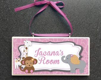 Jacana Nursery Art Wall Plaque Monkey Giraffe Elephant - Baby Girls Room