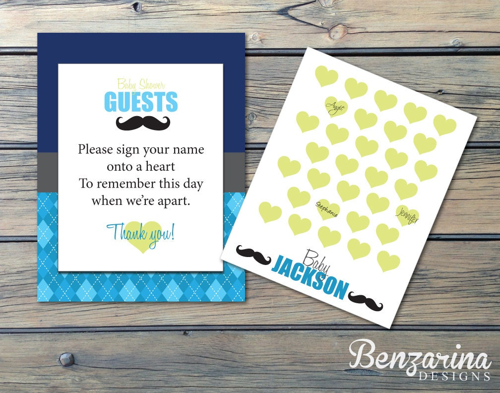 little man mustache baby shower guest sign in guest book