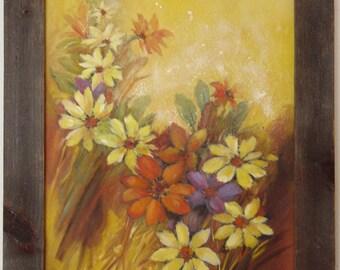 Vintage Floral FLOWERS Painting ORIGINAL ART - Acrylic On Canvas ~ With Barnwood Barn Wood Frame