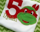 Boys Personalized Teenage Mutant Ninja Turtle Birthday Shirt size 3-6M - 6