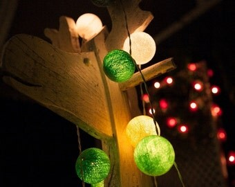 35 Bulbs Forest Green  tones cotton ball string lights for Patio,Wedding,Party and Decoration