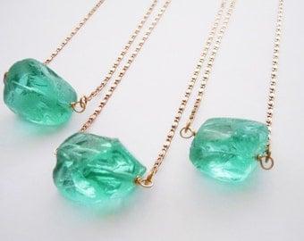 Raw Crystal Quartz Necklace - Aqua Blue - Long Layering Necklace