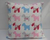 Dog Pillow Cover, Scottie Dog Cushion Cover, Pink  white and blue, Dog Print Pillow Sham,  Dog themed pillow Cover, 14 inch up to 24 Inch