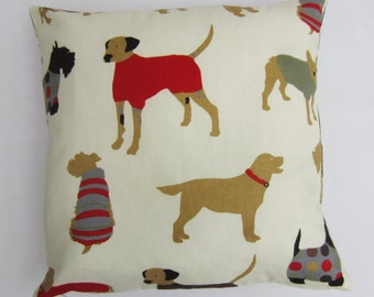 "Dog  Pillow Cover, Dog Print Cushion Cover, Decorative Pillow Cover, Red on Cream Dogs on Front and Back, Choose size from 14"" up to 24"""