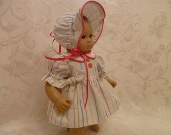 15 Inch Baby Doll Rainbow Striped Spring / Summer Dress,  Sunbonnet and Bloomers