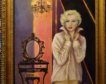 Marilyn Monroe Painting Movie Star Portrait  Wall Decor 11x14 framed Retro style pin up girl portrait
