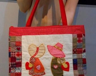 Sue Embroidered Tote Handbag-Patchwork Tote Bag-Shoulder Tote Red Cranberry Bag-Shoulder Cotton Fabric Handbag-Applique Bag