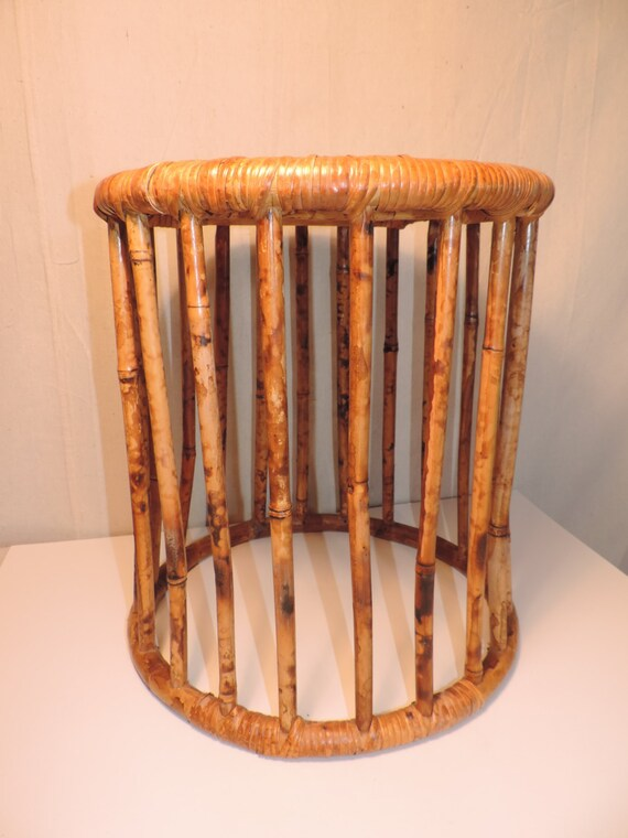 Bamboo wicker ottoman side table rattan table foot stool for Bamboo side table