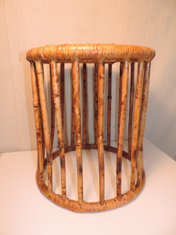 Bamboo Wicker Ottoman Side Table Rattan Table Foot Stool