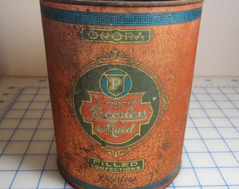 Antique 1910 Graphic Round Cannister/Tin