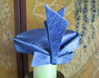 Vintage Styled By Janet Blue Pillbox Hat With Bow/Fascinator Hat