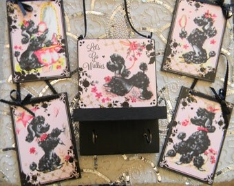 Oodles of Precious Poodles Plaque and Dog Leash Holder Set Four Plaques and One Poodle Dog Leash Holder