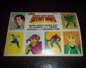 Vintage Super Heroes Secret Wars Stamp fun...includes games, puzzles and coloring fun!