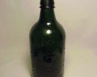 c1870s Congress & Empire Spring Co. Saratoga, N.Y. , Cork Top Green Pint Size Mineral Water Bottle No. 2