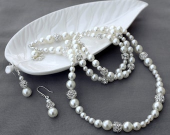 Bridal Pearl Rhinestone Necklace Bracelet Earring Jewelry Set Crystal Wedding Jewelry Set White or Ivory Pearl ST008LX