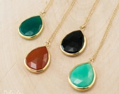 Gemstone Pendant - Layered Necklaces - Tear Drop Gold Framed Stone Pendant - Gold Necklace - Layering Jewelry - Bridesmaid Jewelry