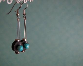 NEW - The Traveler - Silver Wood Turquoise Shell Earrings - BOHO - Earthy Rustic